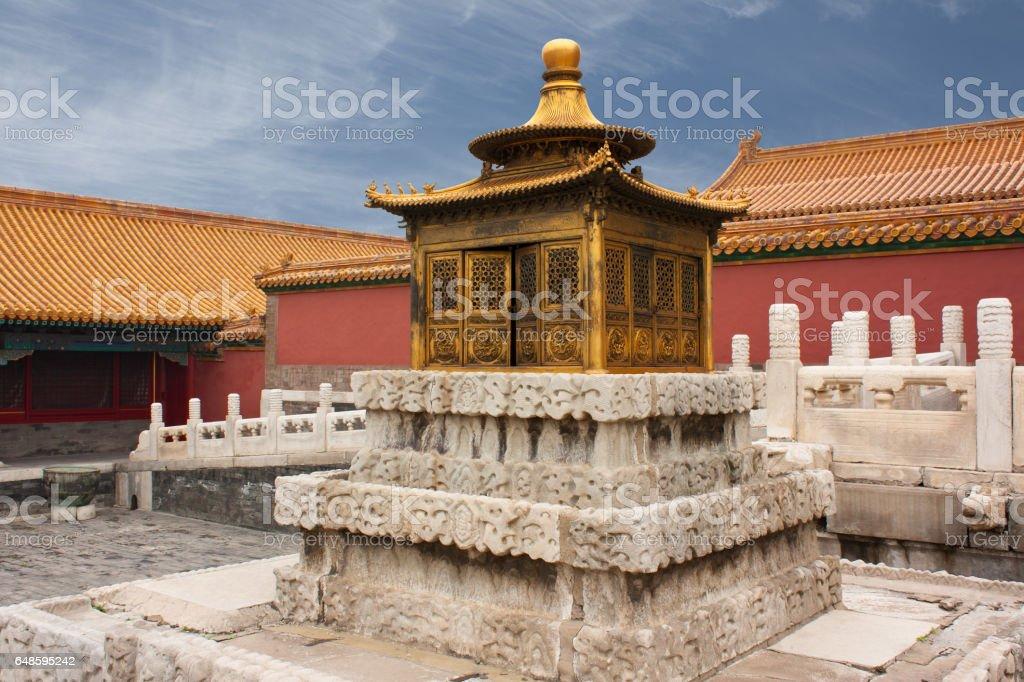 Small golden pagoda, Beijing, China stock photo