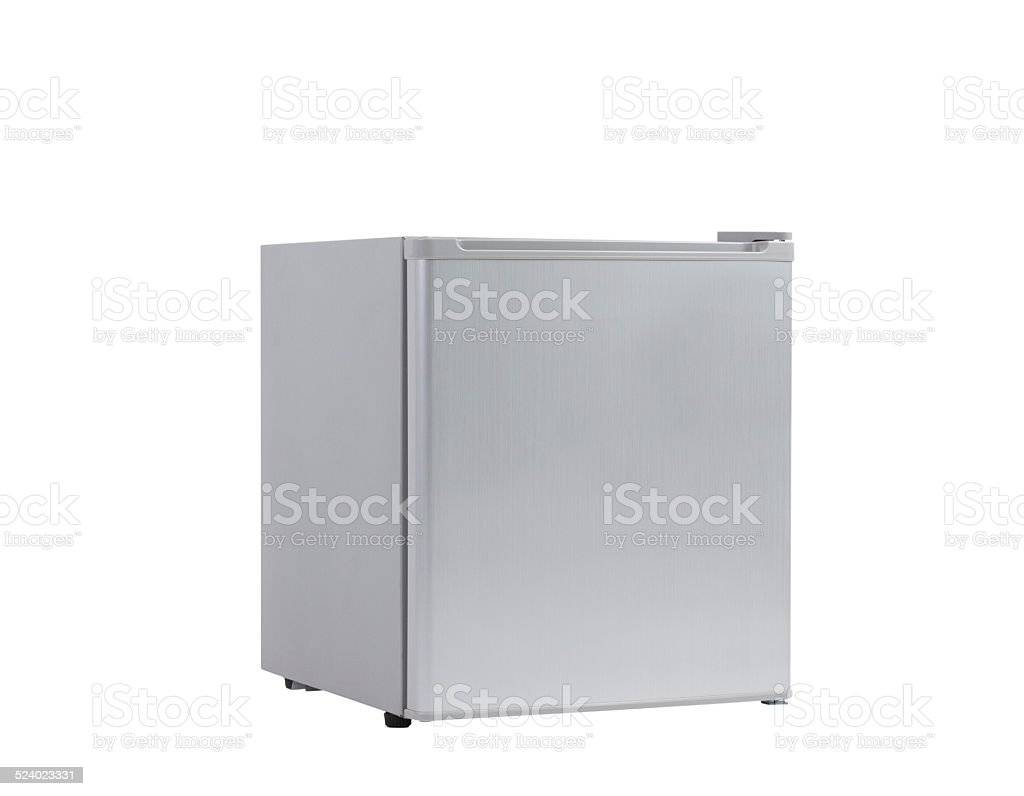 Small gray refrigerator stock photo
