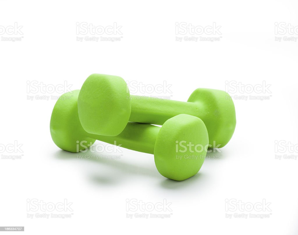 small green dumbbells,  isolated in white stock photo