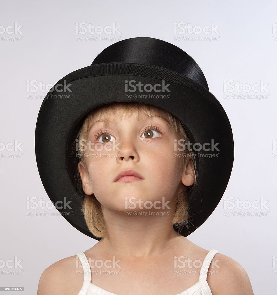 Small gril in tophat stock photo