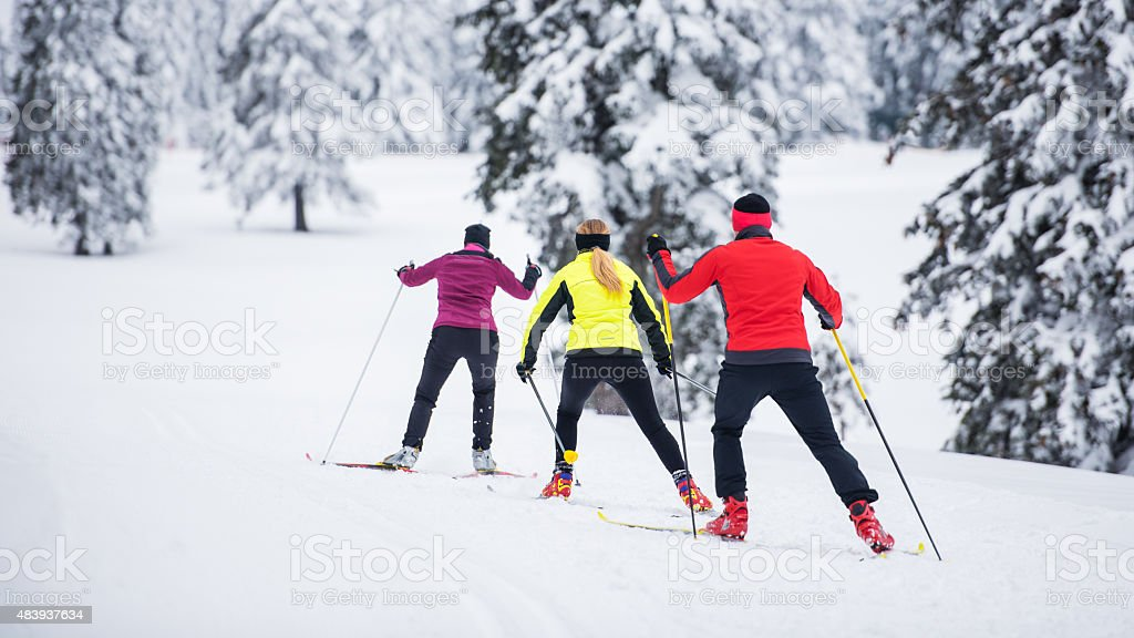 Small Group Back Country Nordic Skiing stock photo