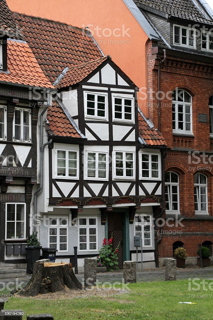 Small half-timbered house in Braunschweig stock photo