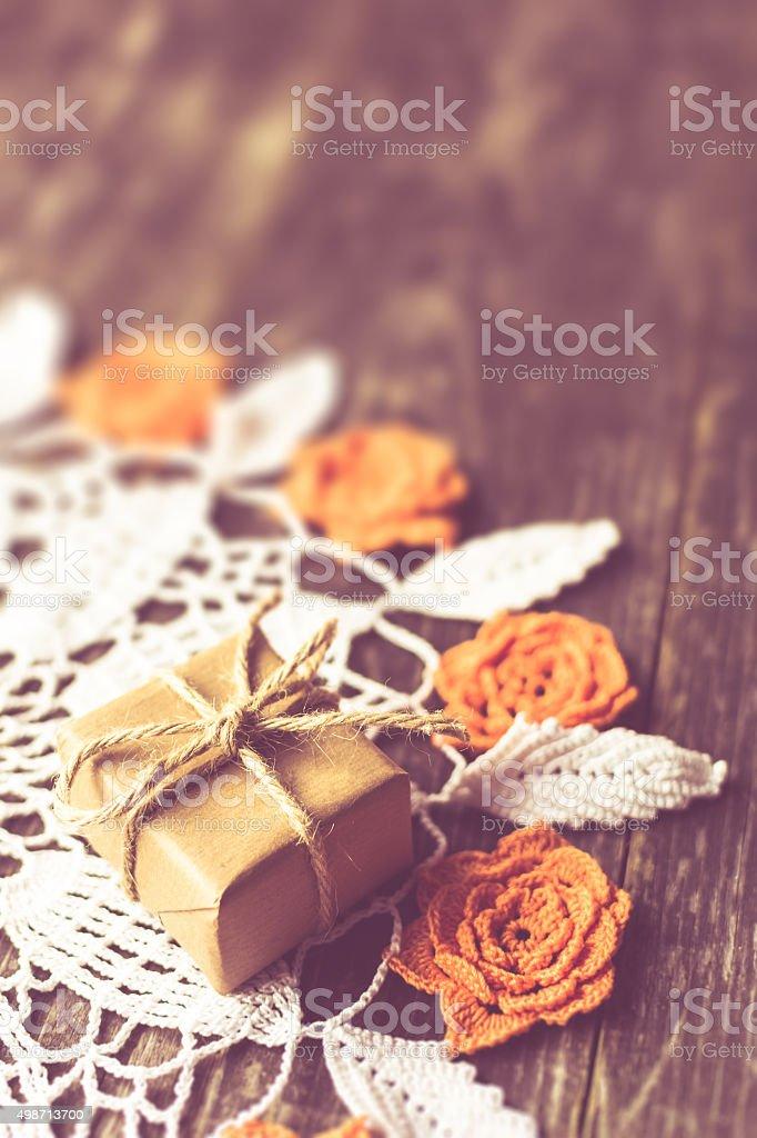 Small Handmade Gift Box On Table stock photo