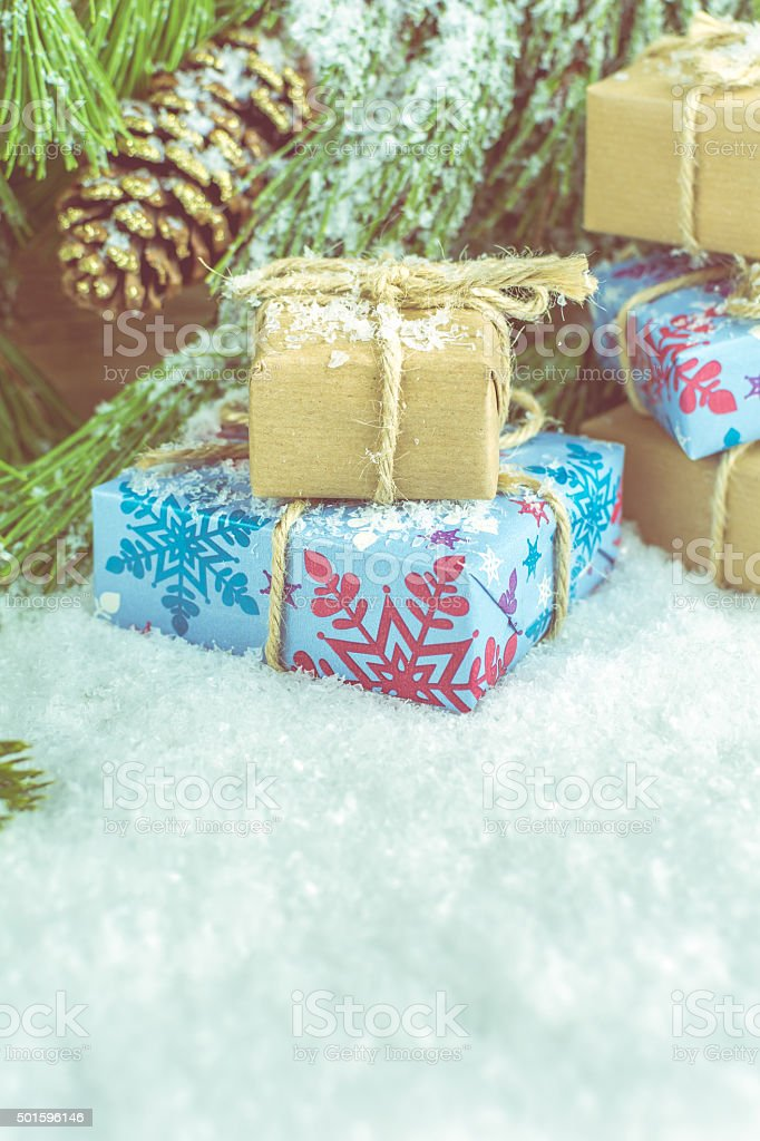 Small Handmade Gift Boxes, Christmas Background stock photo