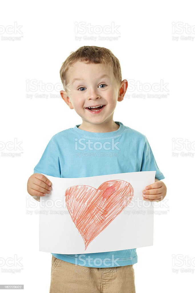 small happy boy with heart royalty-free stock photo