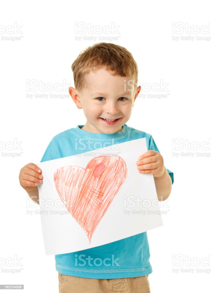 small happy boy with heart royalty-free stock photo