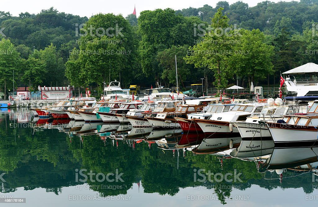 Small harbor for fishermen in Istanbul stock photo