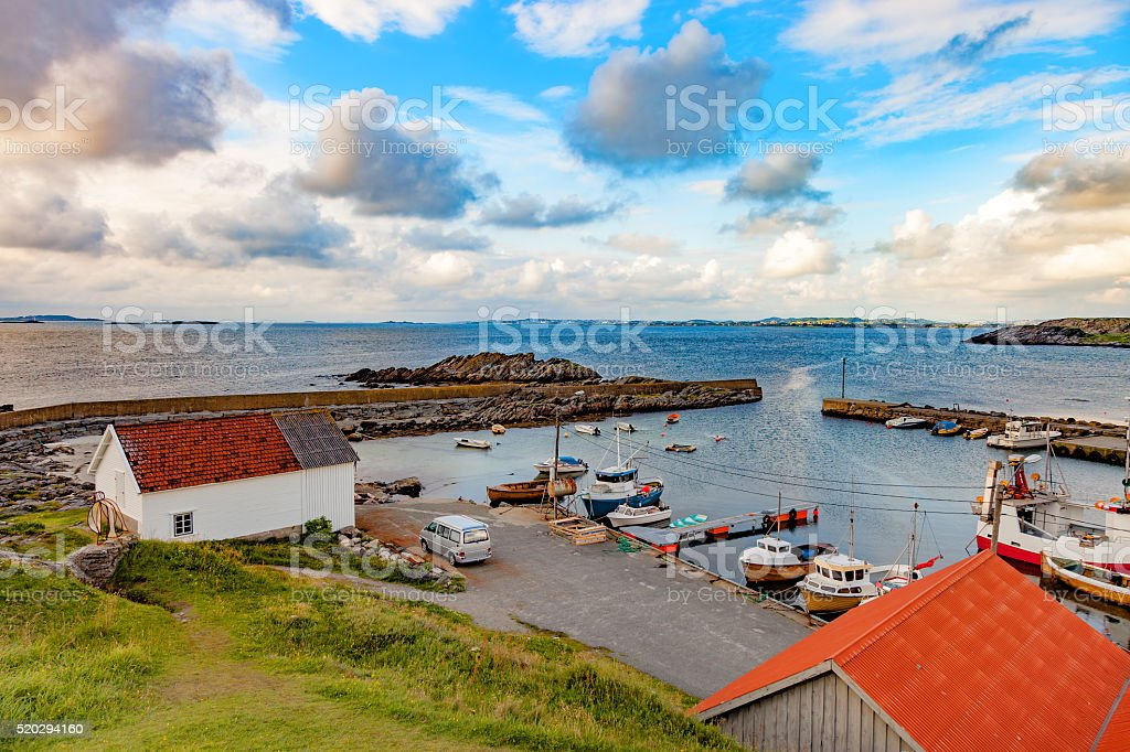 Small harbor in Norway stock photo