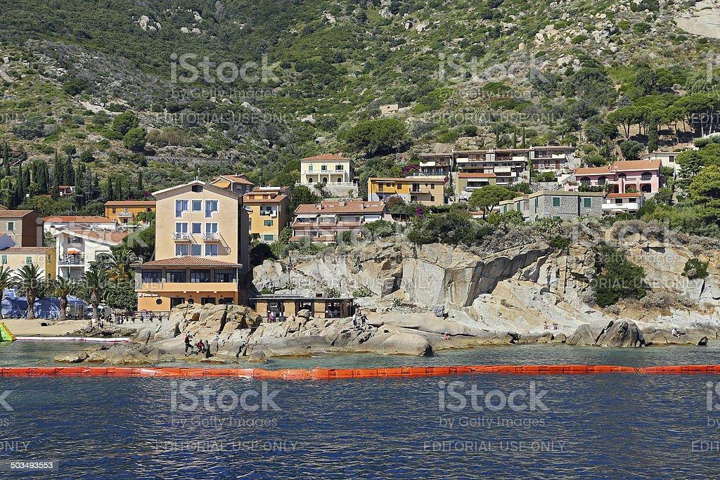 Small harbor of Giglio Island,  Mediterranean Sea, Tuscany - Italy stock photo