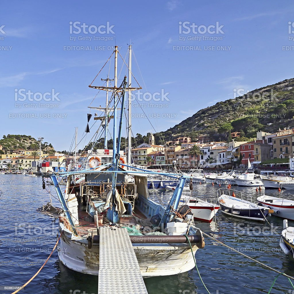 Small harbor of Giglio Island,  Mediterranean Sea, Tuscany - Italy stock photo