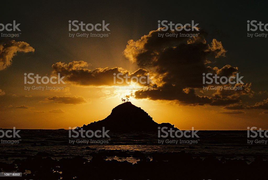 Small Hawaiian Island at Sunrise stock photo