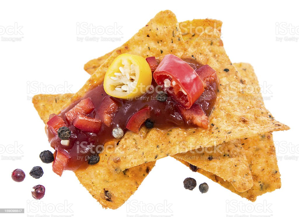 Small heap of Nachos with Salsa royalty-free stock photo