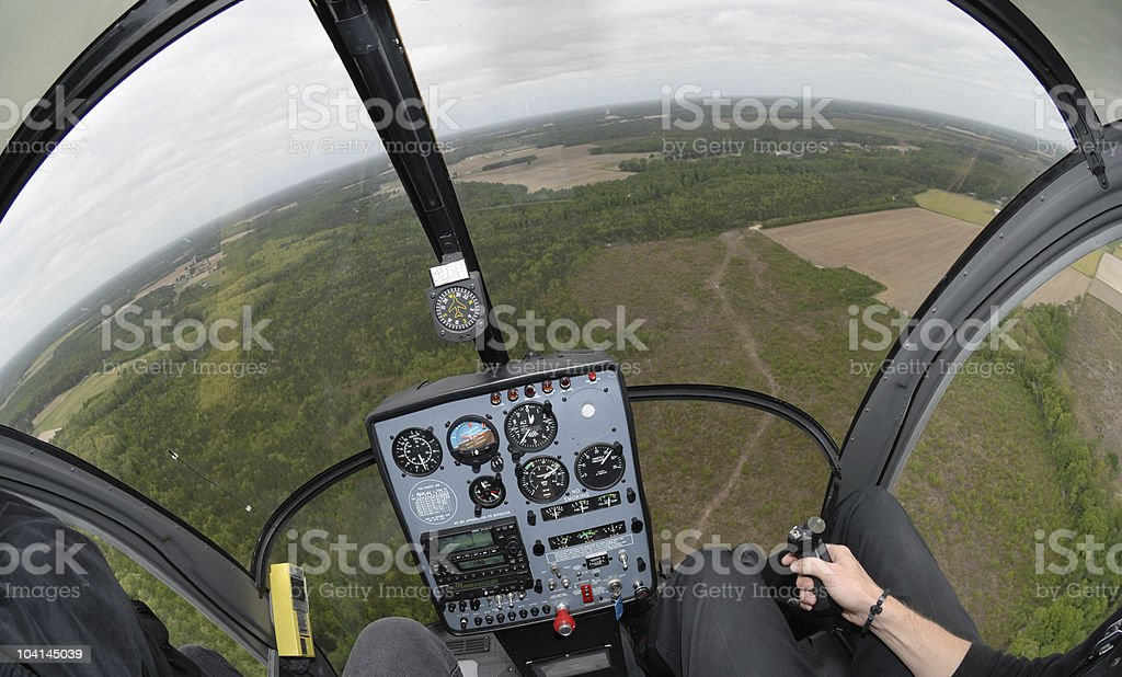 Small helicopter cockpit view wide royalty-free stock photo