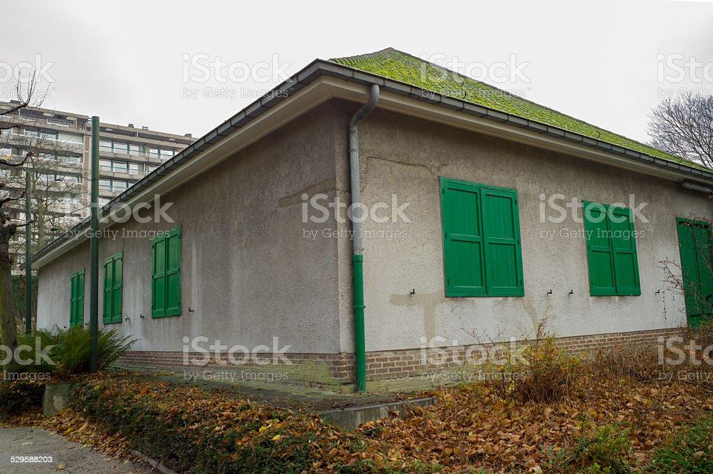 small historical building at parc du cinquantenaire in brussel belgium stock photo