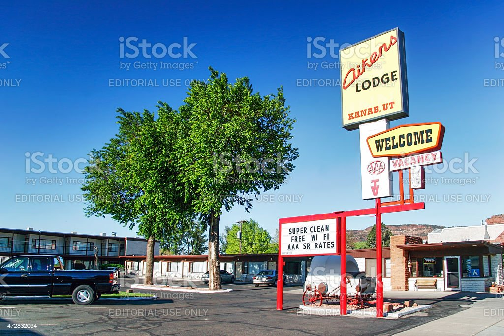 Small hotel in Kanab town stock photo