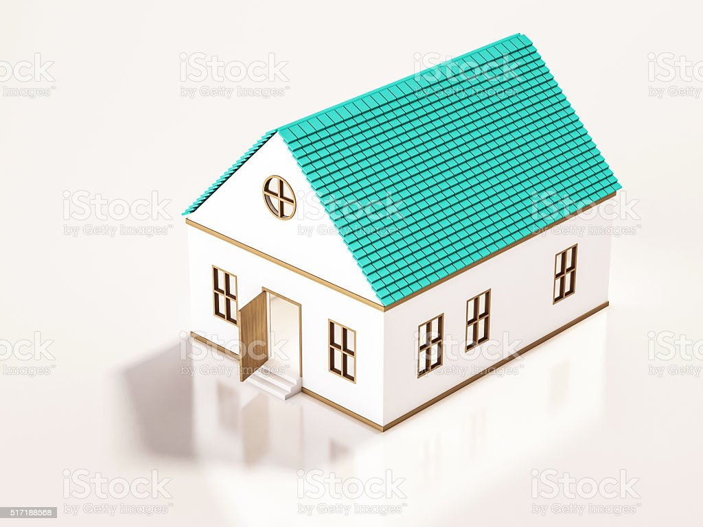 Small house, 3d rendered stock photo