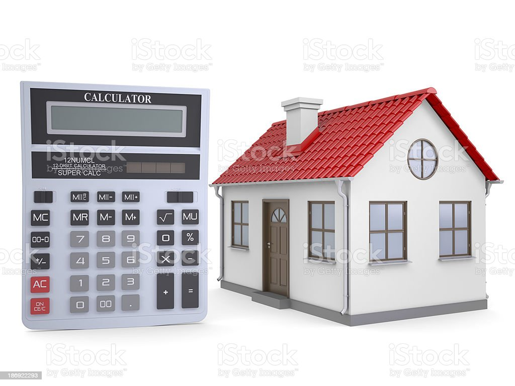 Small house and calculator royalty-free stock photo