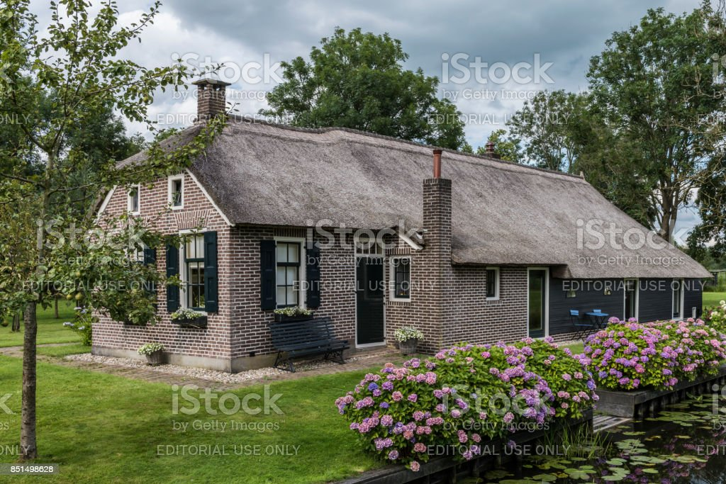 Small House Hydrangea in Giethoorn stock photo