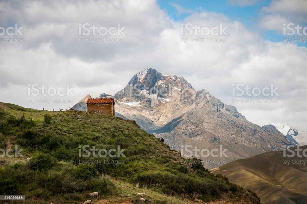 Small House On A Mountain Above Huaraz In Peru stock photo