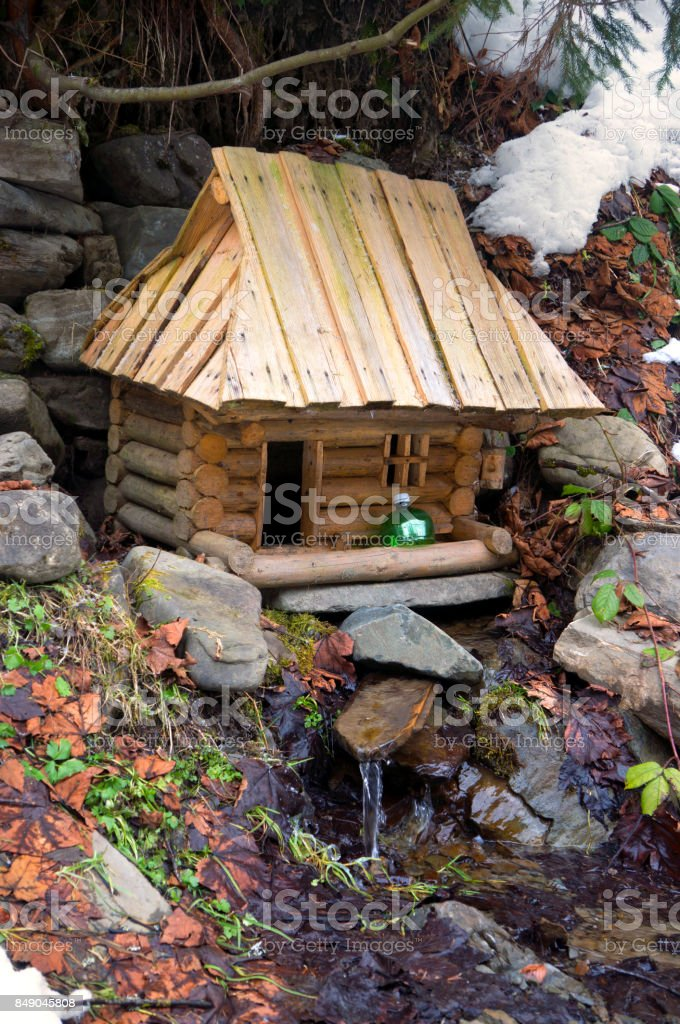 small house over the water stock photo