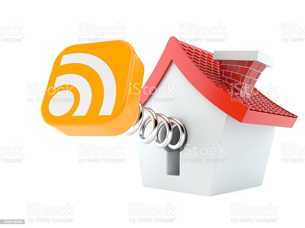 Small house with RSS icon stock photo
