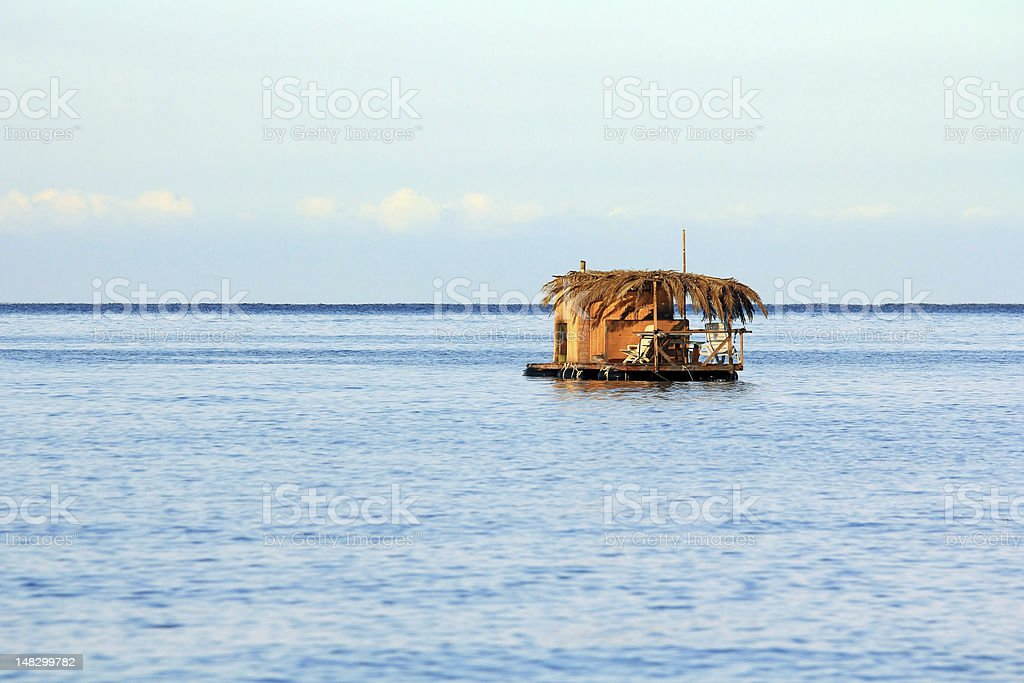 Small houseboat stock photo