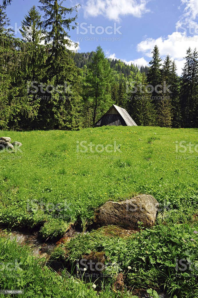 Small hut in the mountains royalty-free stock photo