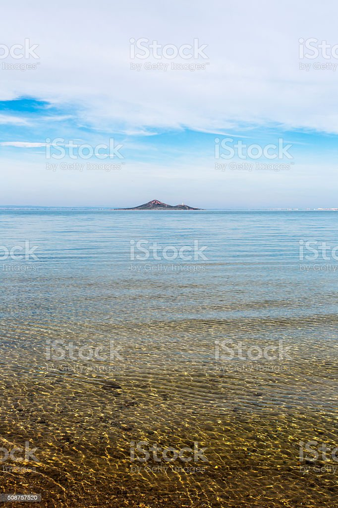 Small island in the lagoon. stock photo