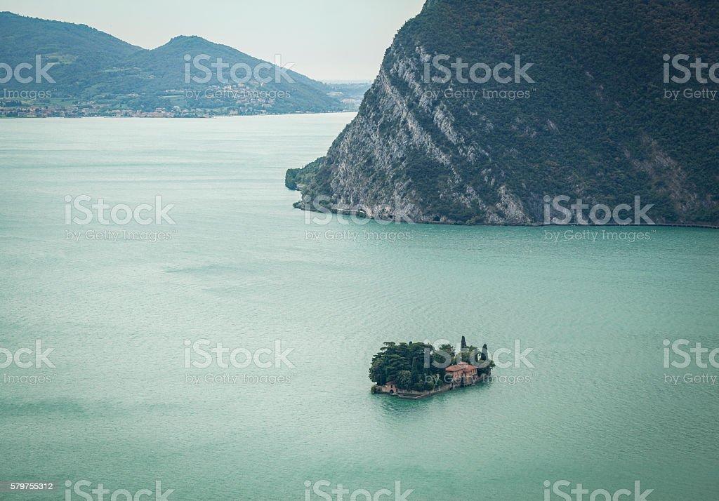Small Island Of Iseo Lake, Brescia Italy stock photo