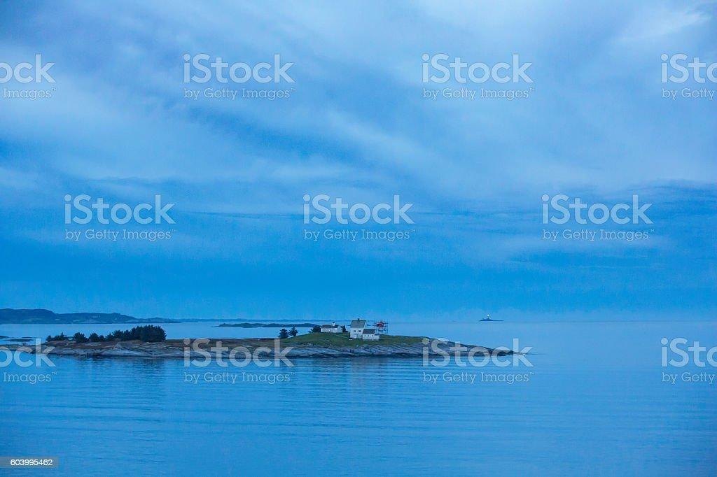 small island off the Norwegian coast stock photo