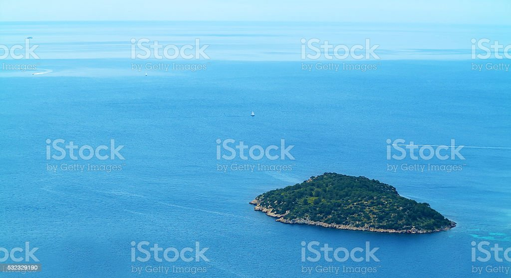 small island seen from above stock photo