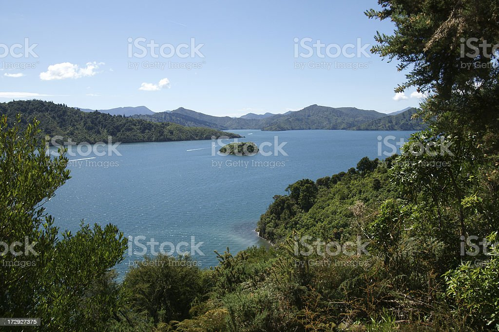 Small islands in the Queen Charlotte Sound. stock photo