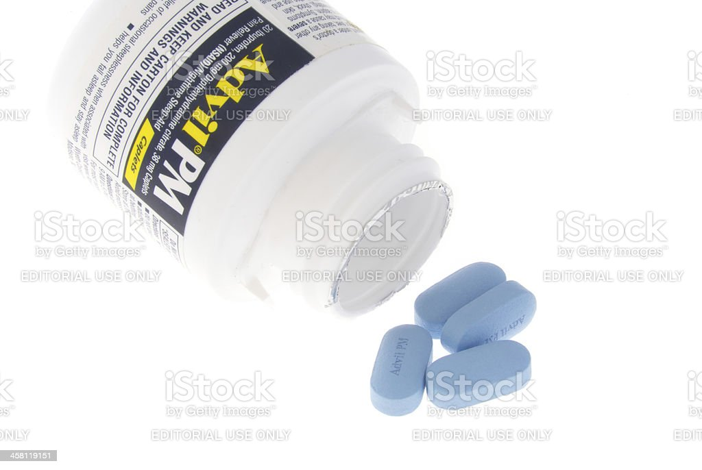 Small Isolated Bottle of Advil PM stock photo