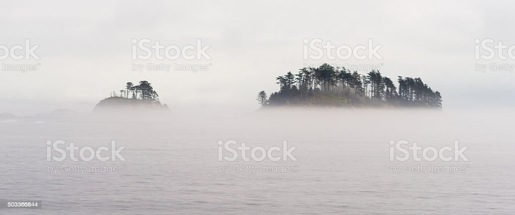 Small Isolated Islands Inside Passage Cruise Canadian Waters stock photo