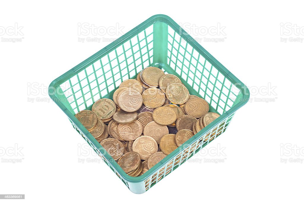 Small Israeli coin with water drops in the basket stock photo