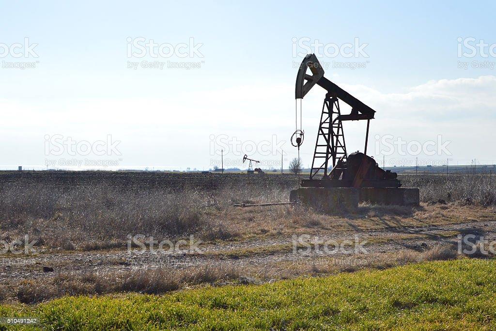 Small Jack Pump in the fields near Sabla, Bulgaria stock photo