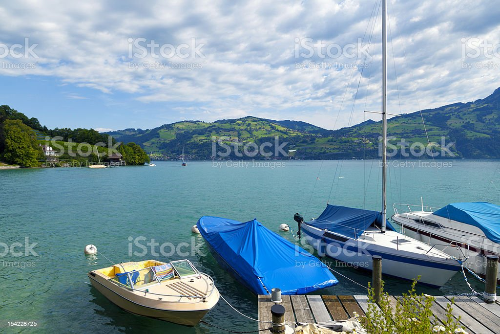 Small jetty in the Thunersee, Spiez royalty-free stock photo