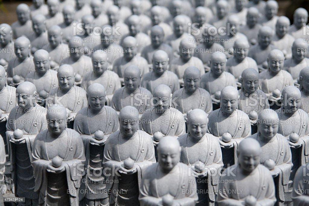 Small Jizo Statues at Hase dera temple, Kamakura Japan stock photo