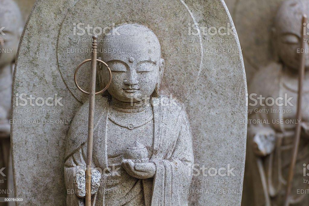 Small Jizo Statues at Hase-dera Temple in kama Kura stock photo
