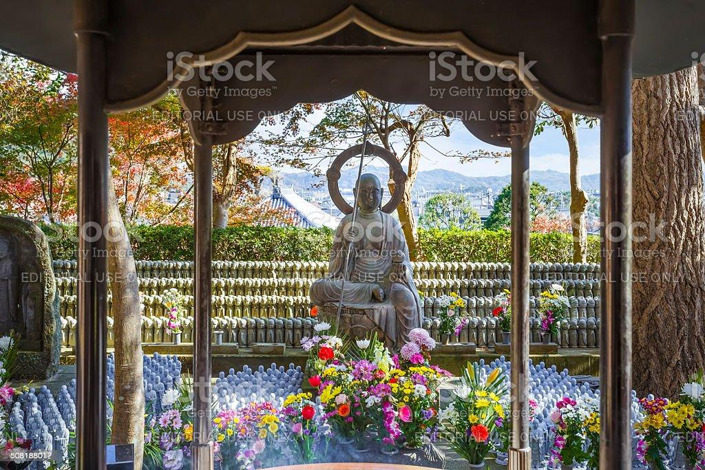 Small Jizo Statues at Hase-dera Temple in Kamakurk stock photo