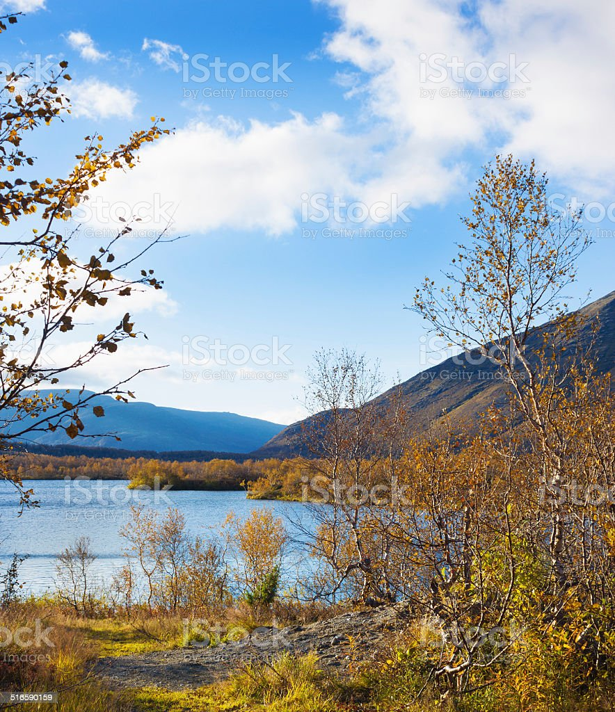Small lake in the mountains. The North Of Russia stock photo