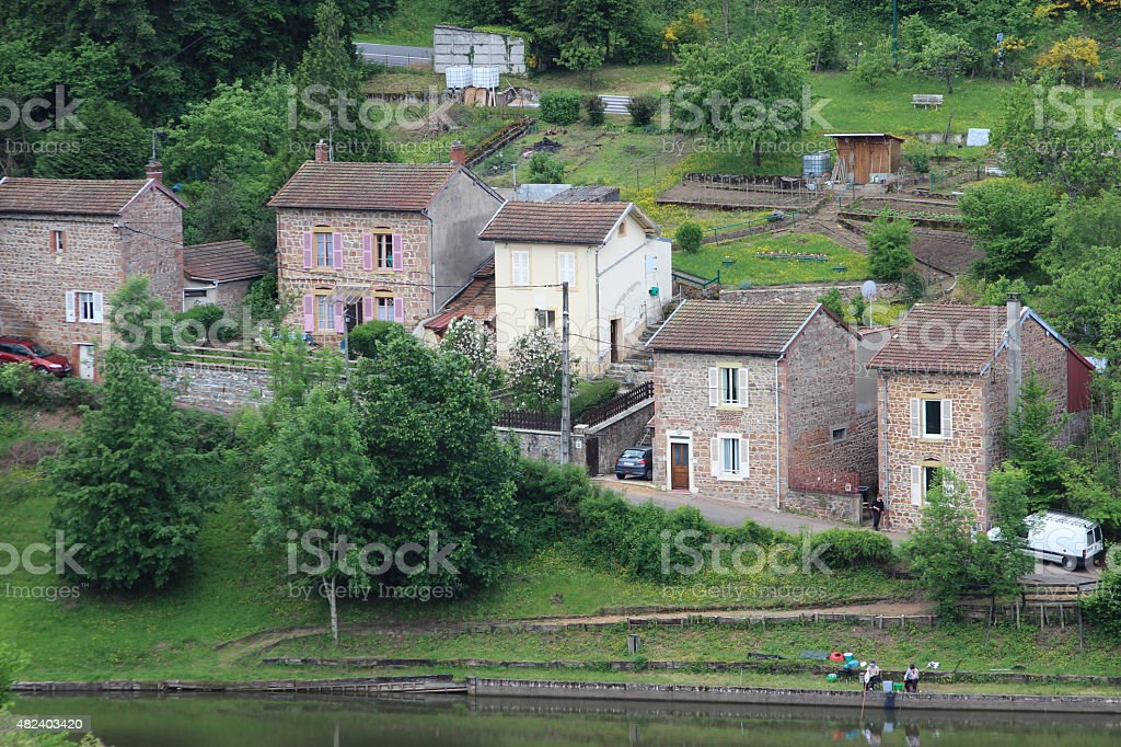 Small lake in Thizy-les-Bourgs stock photo