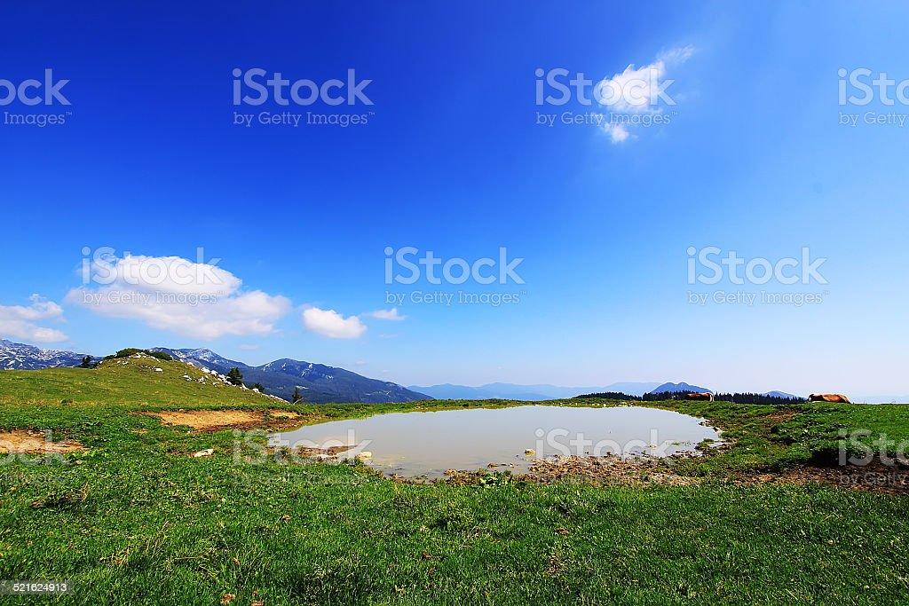 Small lake on Velika Planina stock photo