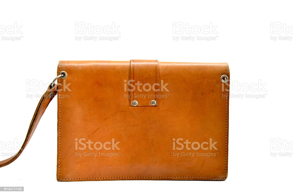 small light brown leather man bag royalty-free stock photo