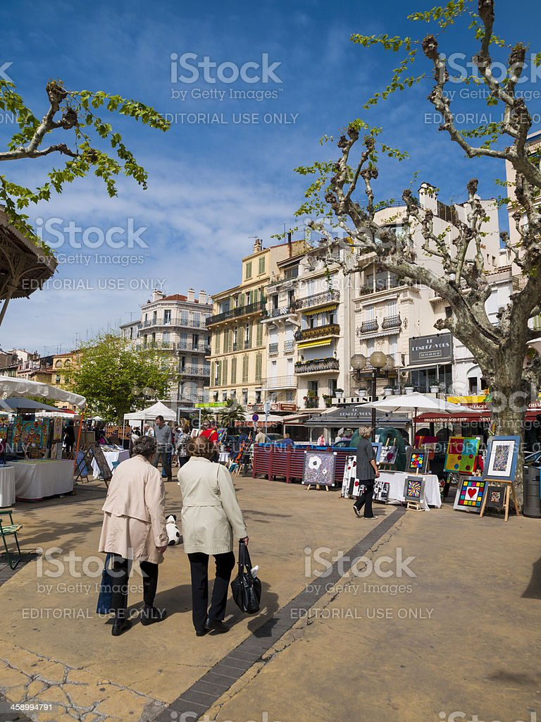 Small local market in the square, Cannes, France stock photo
