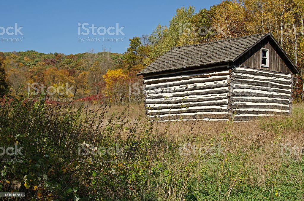 Small log cabin in Natural Bridge State Park, Wisconsin stock photo