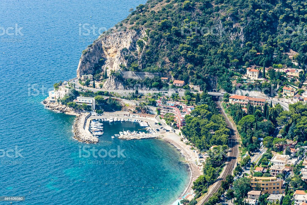 Small Marina Cote d'Azur Coast in France stock photo
