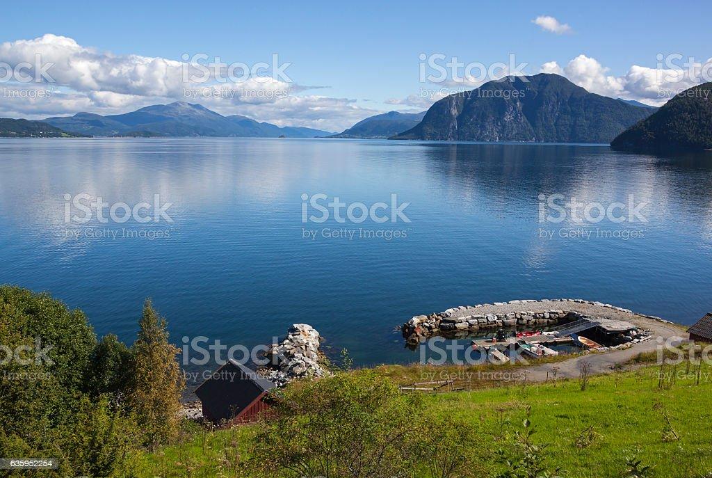 Small marina on the fjord stock photo