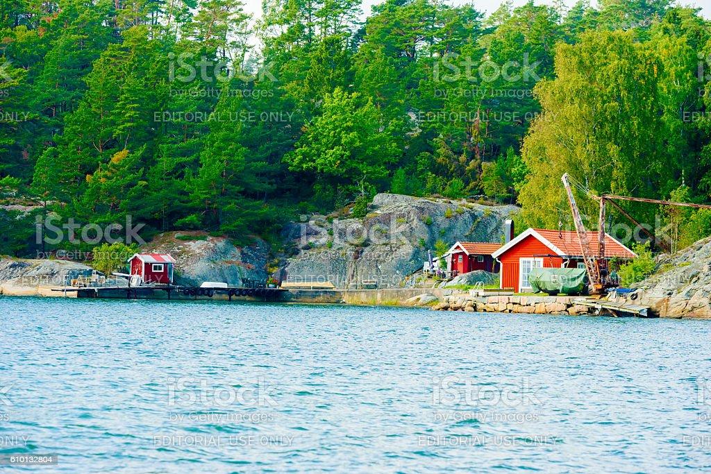 Small marina stock photo