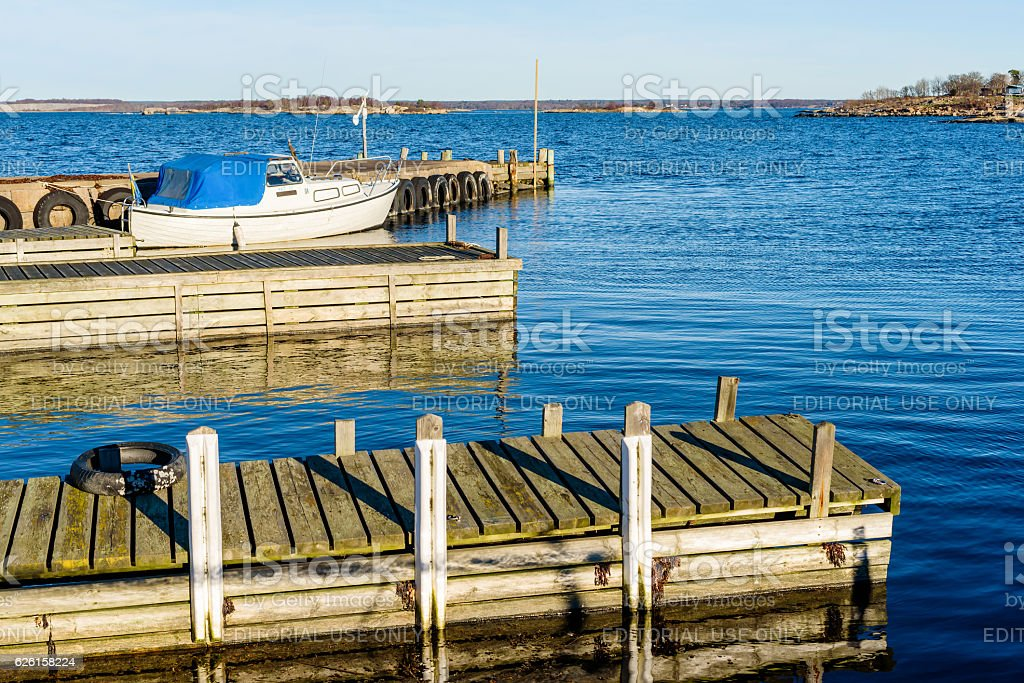 Small marina stock photo